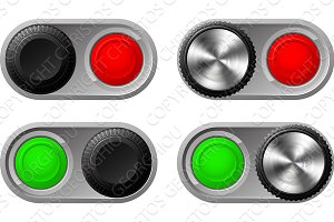 Toggle switches with green and red lights
