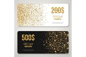 Gift Card Design with Gold Glitter Texture