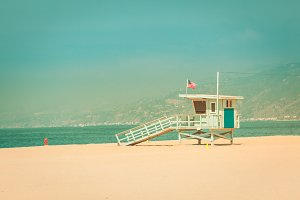 Lifeguard hut in Santa Monica, CA