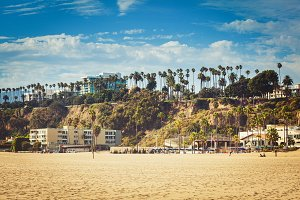 Sunny Santa Monica beachfront, CA