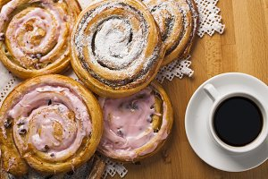 Homemade pastries and coffee.