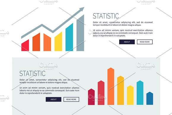 Statistic Posters With Growing Financial Infographic