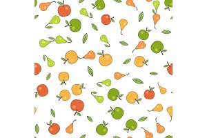 Seamless Pattern with Apples Pears and Leaves