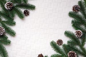 Christmas cozy background with spruce branches and branches