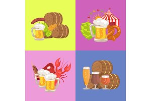 Sets of Beer Symbolic pics Vector Illustration