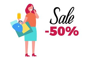 Sale -50% Happy Woman and Bags Vector Illustration