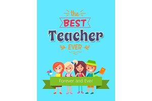 Best Teacher Ever Placard Vector Illustration