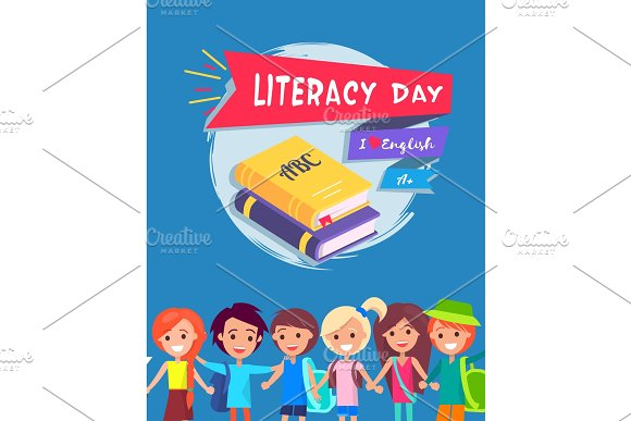 Literacy Day Postcard Vector Illustration