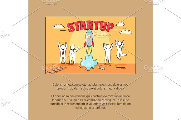 Startup Image with Text on Vector Illustration