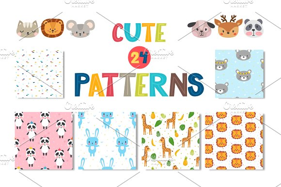 Seamless patterns with cute-Graphicriver中文最全的素材分享平台