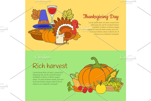 Thanksgiving Day and Rich Harvest Banners Set