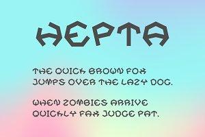 Hepta Typeface. A Heptagonal Font