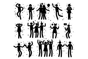 Celebration Poses Collection of Black Silhouettes