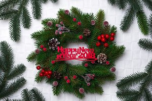 Christmas wreath, isolated on white