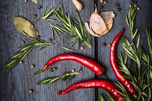 Red chili , rosemary and spices