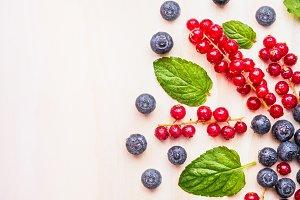 Healthy detox berries on white