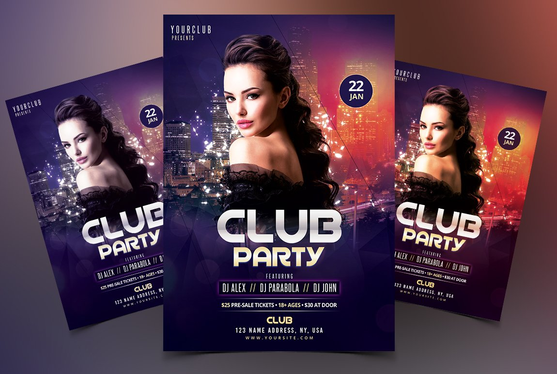 club party dj psd flyer template flyer templates creative market