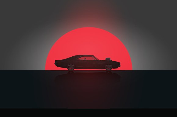 Side View Muscle Car Illustrations Creative Market