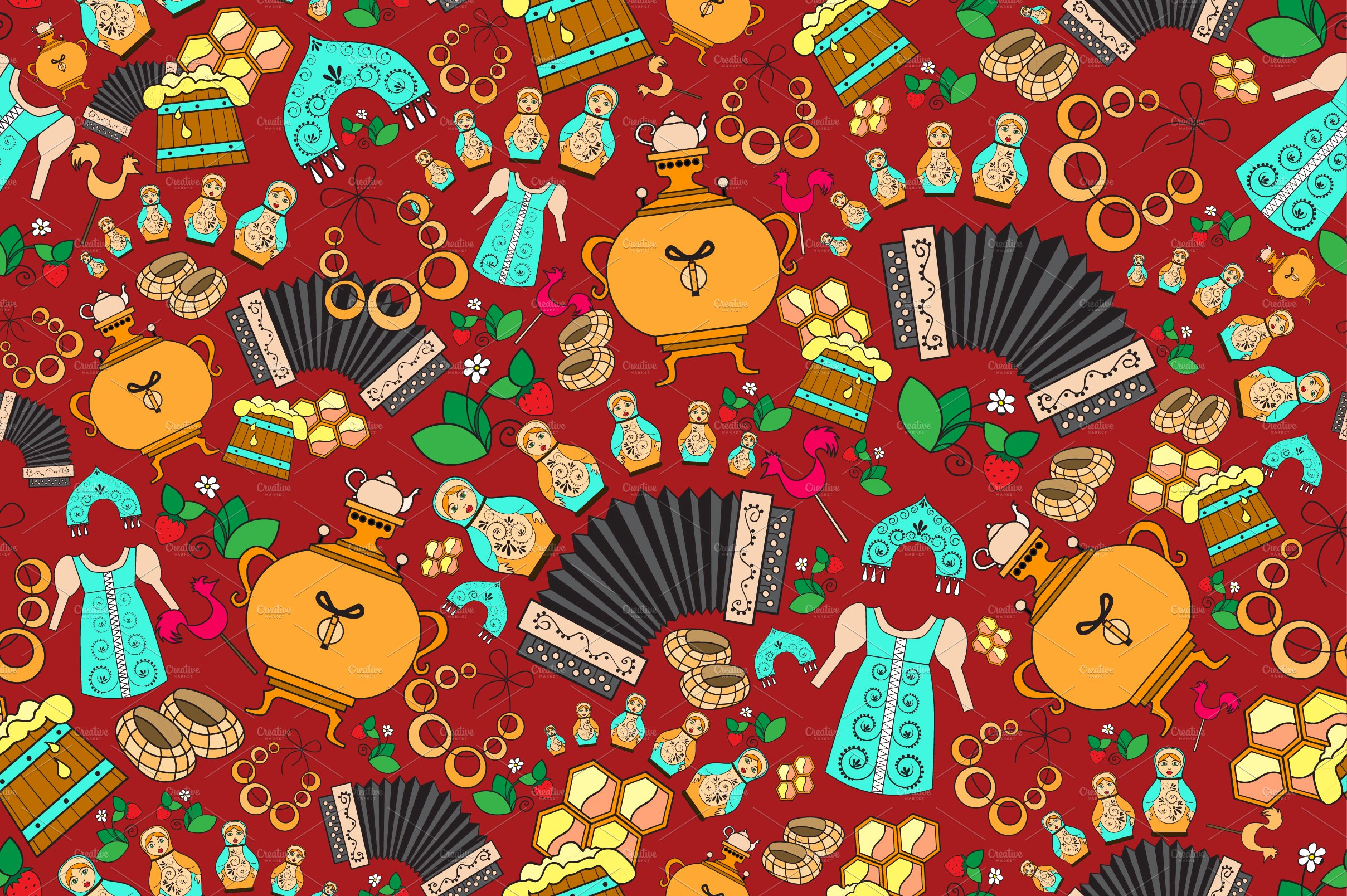 Pattern With Symbols Of Russia Graphic Patterns Creative Market