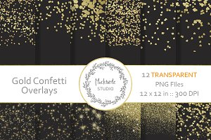 Gold Confetti Digital Overlays