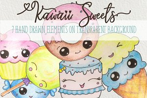 Cute Hand Painted Patterns & Clipart