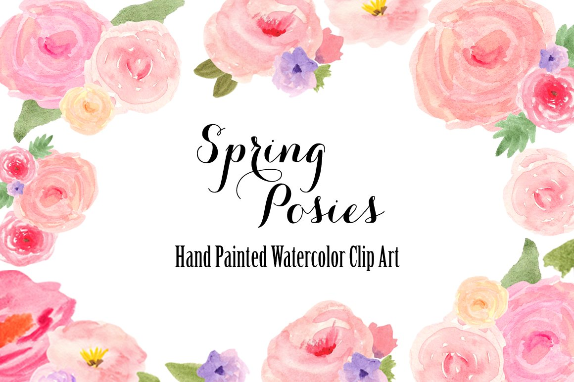Watercolor Spring Flowers Clip Art Illustrations Creative Market