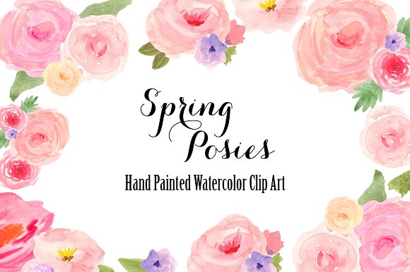 Watercolor spring flowers clip art illustrations creative market watercolor spring flowers clip art illustrations mightylinksfo