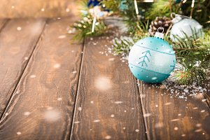 Bright christmas greeting card with blue ball