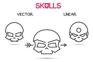 Vector linear skulls.