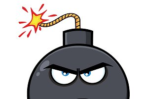 Angry Bomb Face Cartoon Character