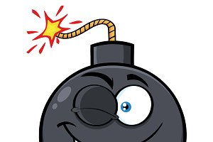 Winking Bomb Face Cartoon Character
