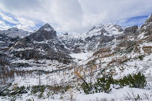 Autumn and winter in mountains