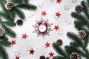 Christmas background with decorations.