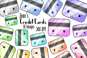 Kawaii Credit Cards Clipart