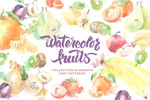 Watercolor fruit collection