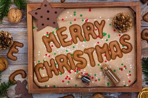 Christmas cookies on wooden tray