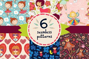 6 seamless patterns with cute girl