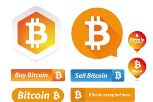 Bitcoin logo and button set vector