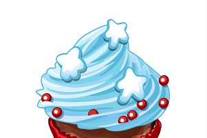 Cupcake with blue whipped cream