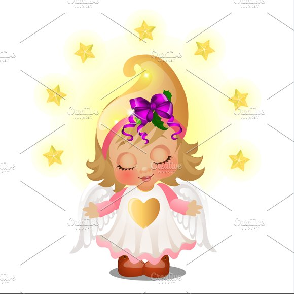 Cute Animated Girl With Angel Wings