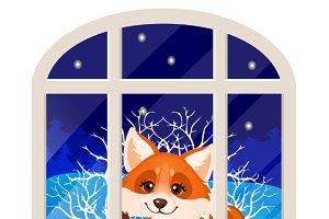 Cute cheerful smiling fox