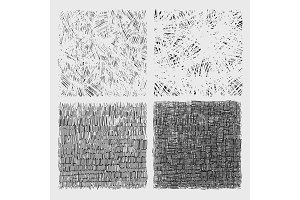Set of rough hatching drawing texture vector illustration.