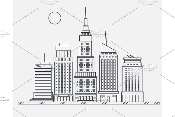 business center of big city street skyscrapers megapolis buildings