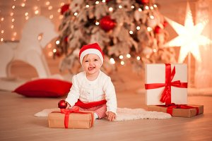 Baby with Christmas decor