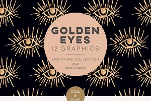 Golden Eyes Hand Drawn Graphics