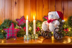 Teddy bear & Christmas scene