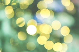 Bokeh lights gold & green background