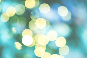 Bokeh lights turquoise background