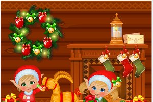 Boy and girl Santa Claus helpers