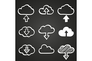 Hand draw doodle cloud shapes collection. Icons for computing web and app